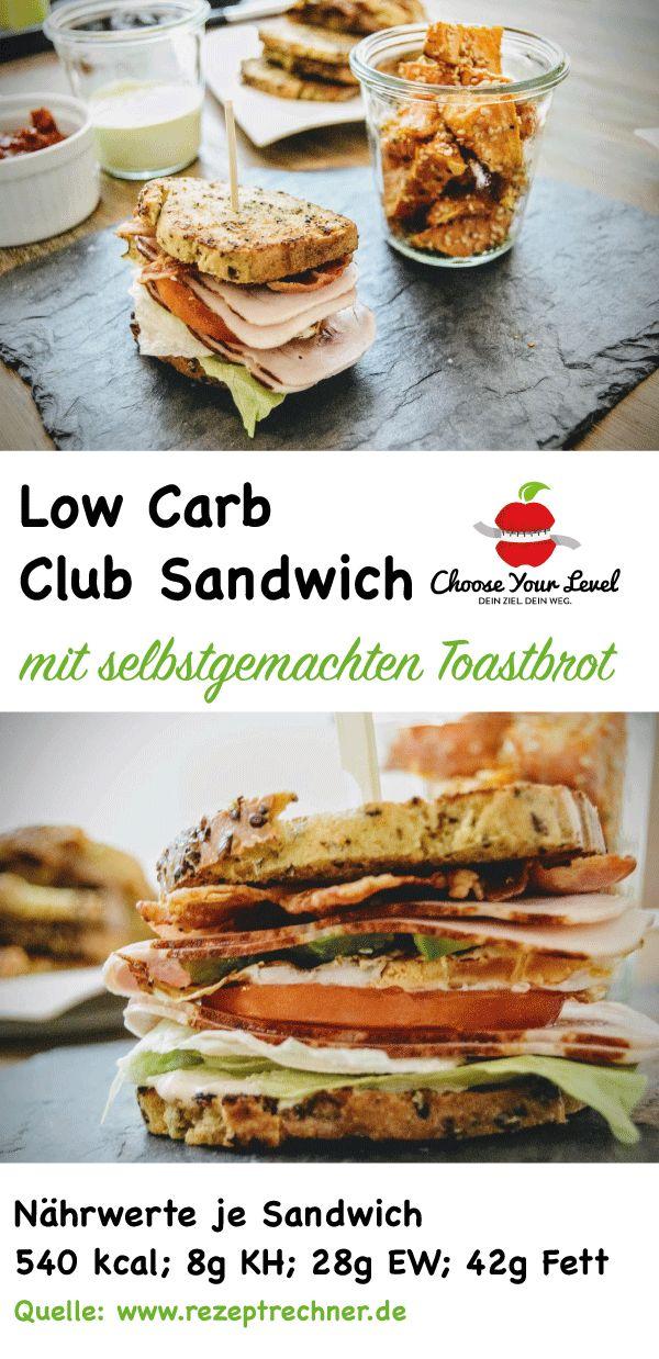 Low Carb Club Sandwich mit selbstgemachtem low Carb Toastbrot   4 Scheiben Low Carb Toastbrot  2 Eier 4-6 Scheiben Tomate 2 Blätter vom Eisbergsalat 6-8 Scheiben Truthahn Sandwich Wurst 3 Streifen Bacon wahlweise Avocado  Für die Soße: 150g Griechischer Joghurt 10% Fett 2 TL Senf 2 TL Tomatenmark 1 TL Xucker 2-3 kleine saure bzw. Gewürzgurken & Gurkensaft