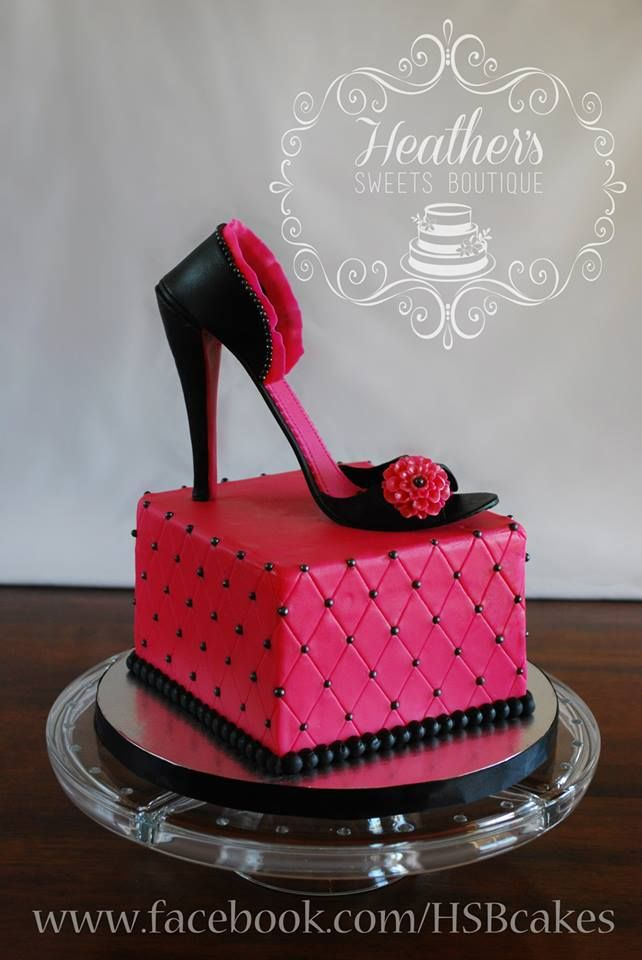 Hot Pink High Heel Cake ~ Heather's Sweets Boutique ~  www.facebook.com/HSBcakes ~ www.heatherssweetsboutique.com ~