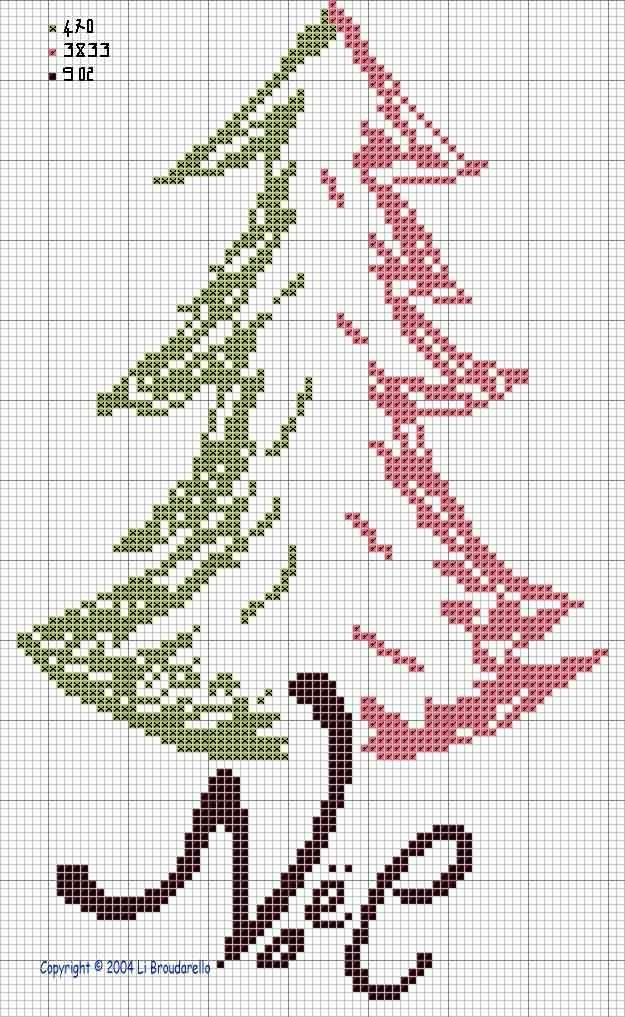 Cross stitch pattern Tree Tricolore