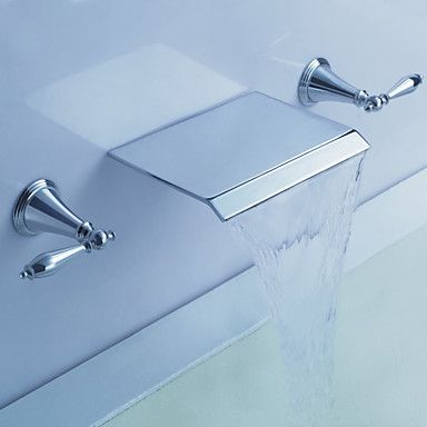 Chrome Finish Double Handles Wall Mounted Bathtub Faucet – USD $ 139.99