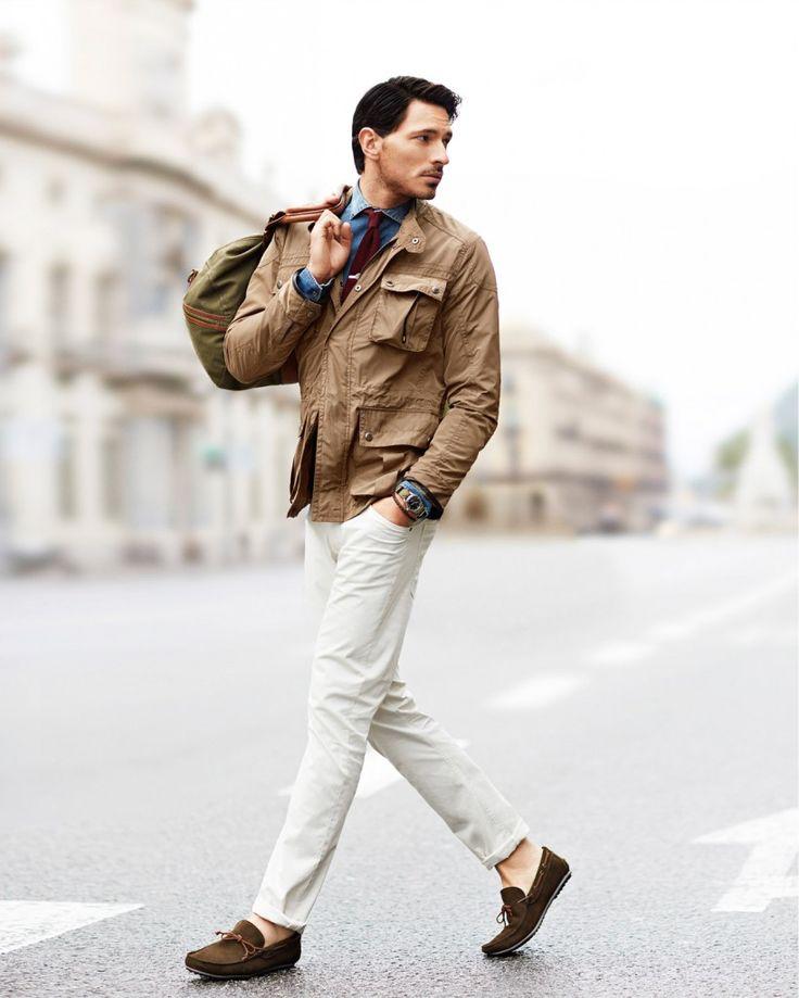 Men 39 s khaki field jacket blue denim shirt white jeans for Mens khaki shirt outfit
