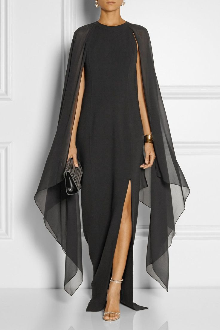 Michael Kors - Stretch-wool and silk-georgette gown from NET-A-PORTER