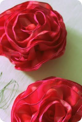 Wired Ribbon Rose that the girls can make! Very simple DIY http://happenstanceathome.blogspot.com/2011/04/pulled-wire-ribbon-rose-tutorial.html