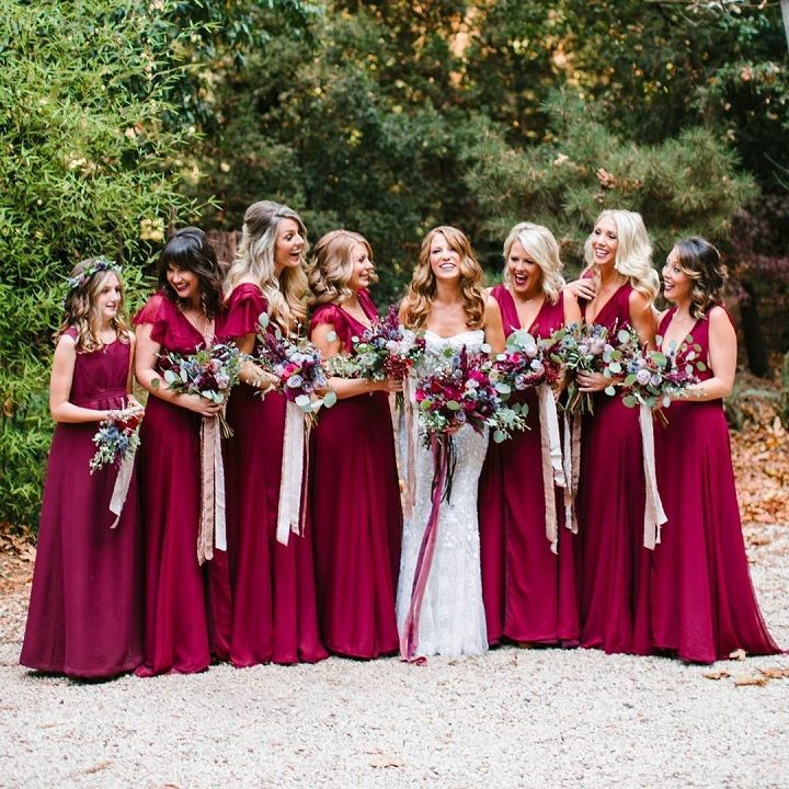fall bridal party pictures%0A Burgundy bridesmaid dresses perfect choice for fall wedding