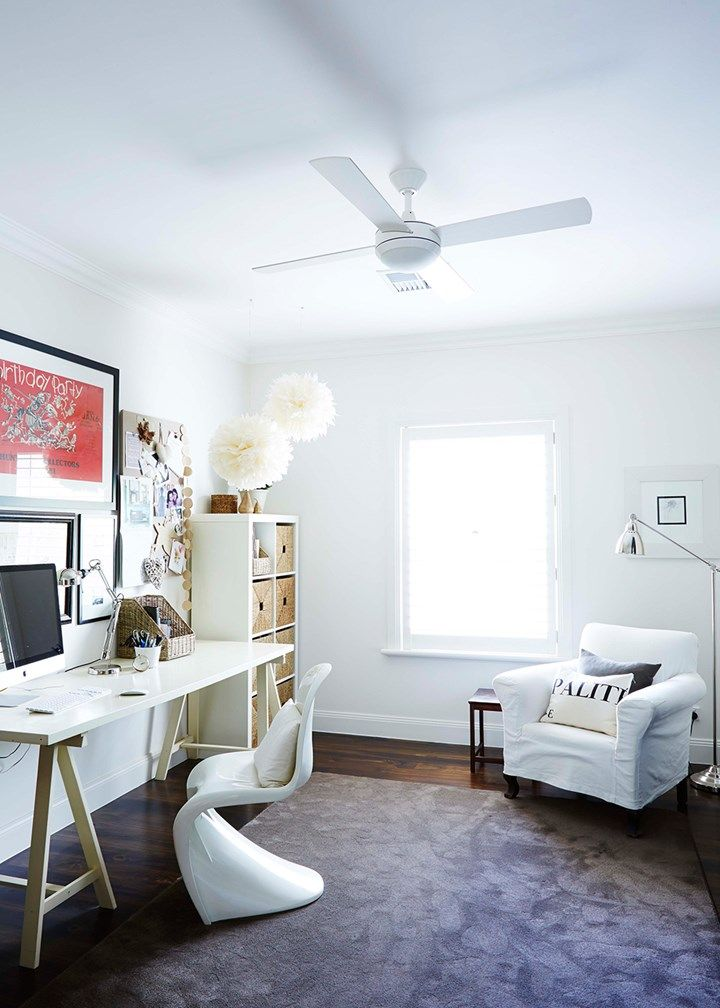 Home office | classic lines, statement chair, carpet for comfort | Home Beautiful Magazine Australia