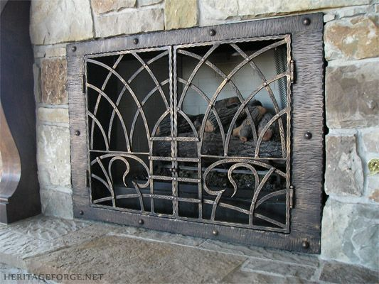 custom fireplace screens metalworking blacksmithing forge fireplaces