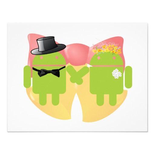 Two Bug Droids Wedding Attire Wedding Bells Invitation | Zazzle.com