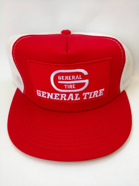 a98c49ad General Tire Mesh Trucker Hat 1980s Retro Vintage Snapback Cap Red White