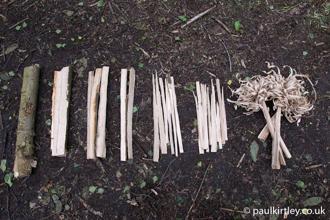 Feathersticks, kindling, small fuel and medium fuel