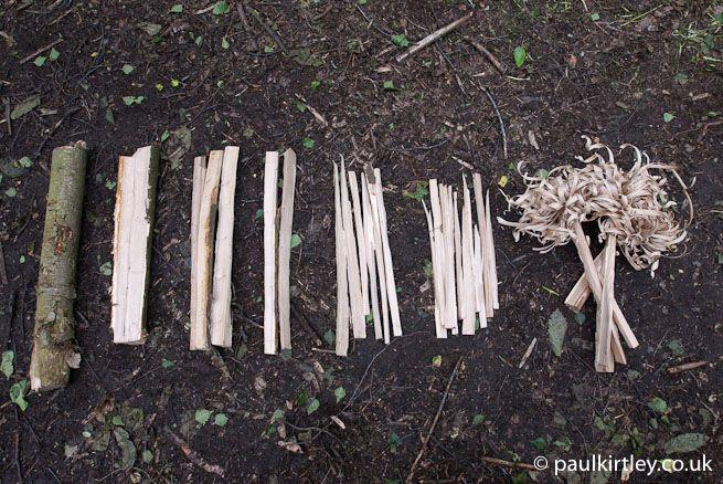 Feathersticks, kindling, small fuel and medium fuel
