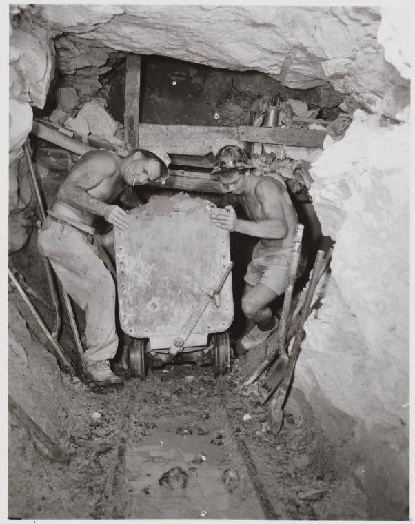 1648B/5: Asbestos miners Jack Trinidad and Jim Edmonds pushing cart down white asbestos mine, Nunyerry, 1957 http://encore.slwa.wa.gov.au/iii/encore/record/C__Rb1960197?lang=eng