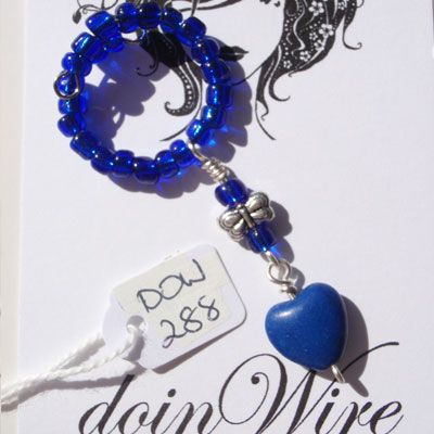 doinWire Wine Charm Blue seed beads, blue heart bead and butterfly charm. DOW288