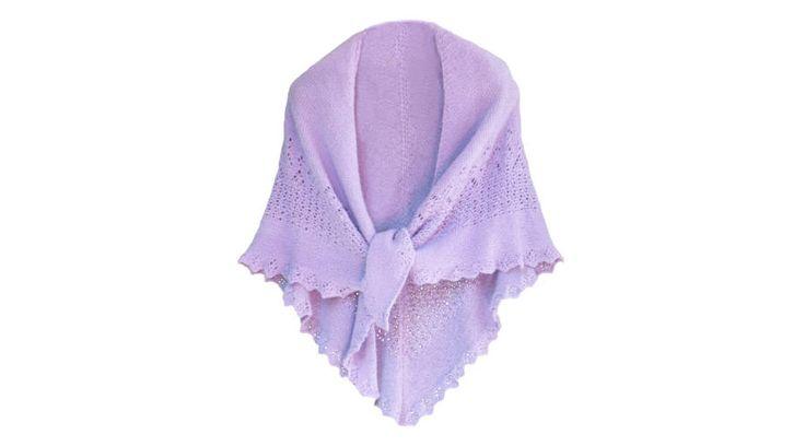 Kézi horgolt gyapjú kendő világos pasztell lilás árnyalatban, igazi mestermű,