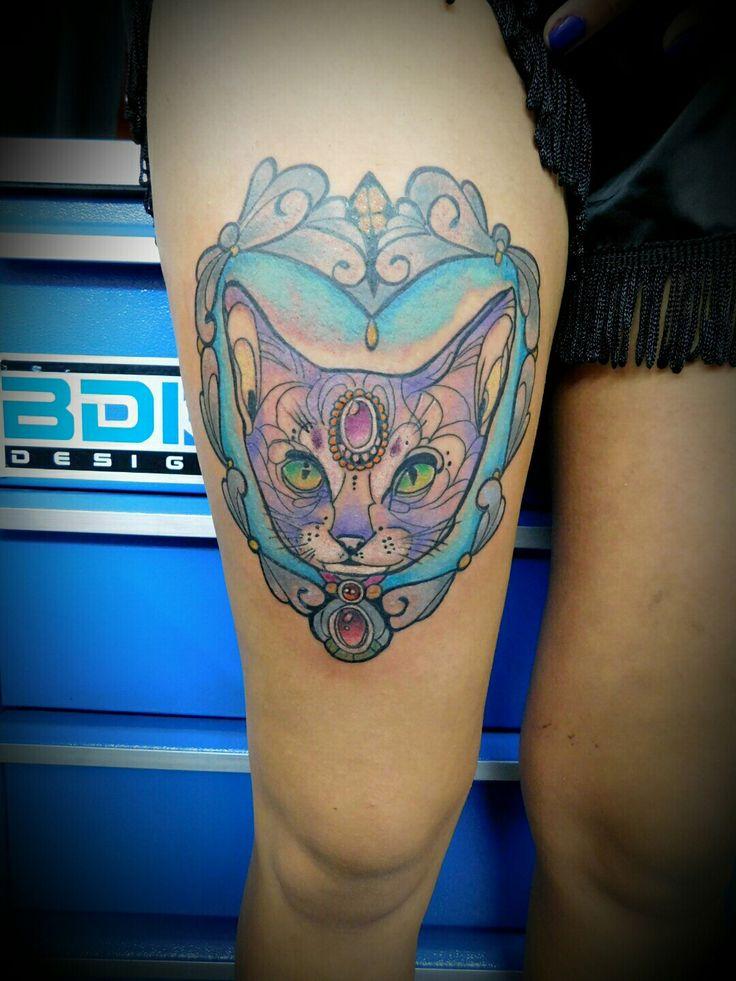 #cat #tattoo #ink #color #holyfamilytattoostudio