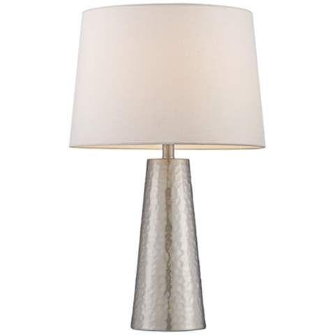 Silver Leaf Hammered Metal Cylinder Table Lamp - #W0363   LampsPlus.com