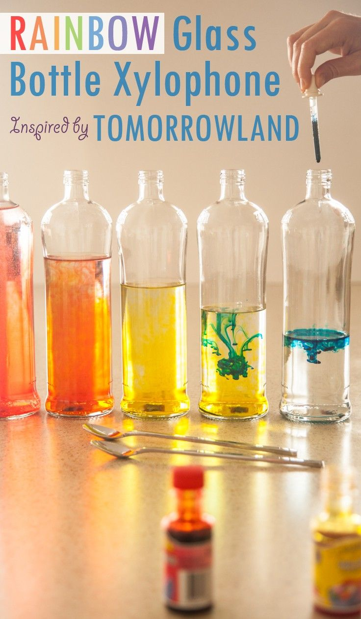 """Make a DIY Rainbow Glass Bottle Xylophone! A simple and colorful learning activity to inspire your little dreamer to become a musician! Craft inspiration from Disney""""s Tomorrowland film."""