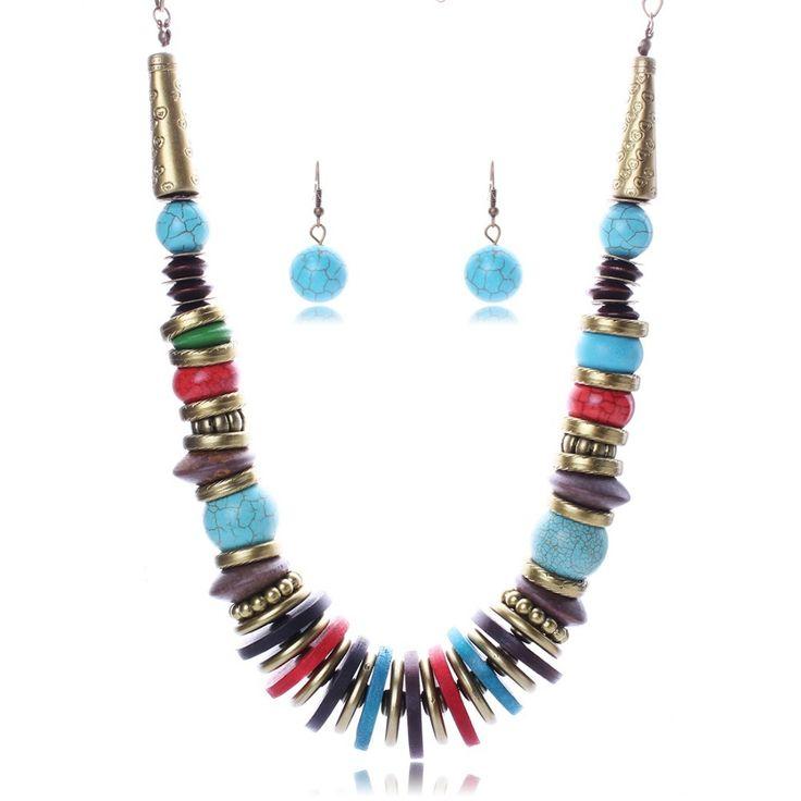 Мода Красочный Мода Бирюзовые Серьги ожерелье ювелирные изделия устанавливает Классический Свадебное Платье N2581