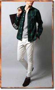シャツ(緑チェック柄)の着こなし方