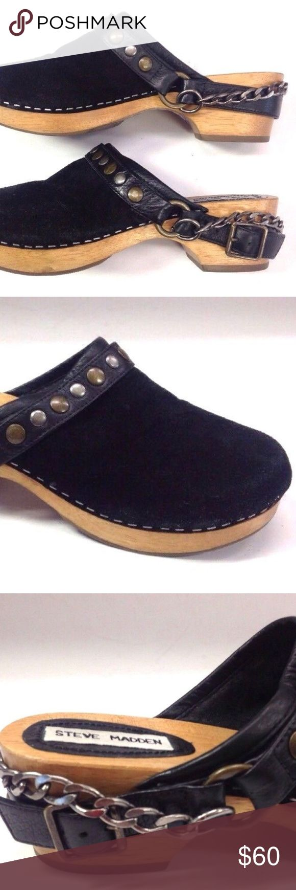 STEVE MADDEN WOOD CLOGS mule chain suede chunky Chunky