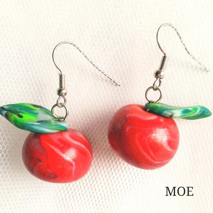 Fimo apple earrings