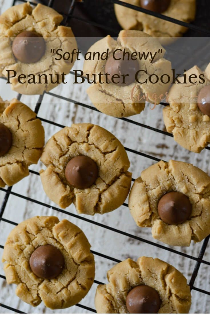 Soft And Chewy Peanut Butter Cookies With Chocolate Kisses