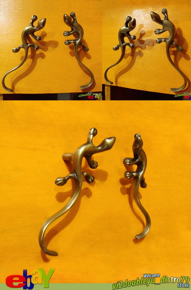 PAIR Right & Left NEW BRASS Smooth ANTIQUE LIZARD Cabinet Brass KNOB Drawer Pull. Lovely and GREAT GIFT for your Cabinet or home decor. #flyer #Knob #Drawer #Brass #Antique #Vintage #Home_decor