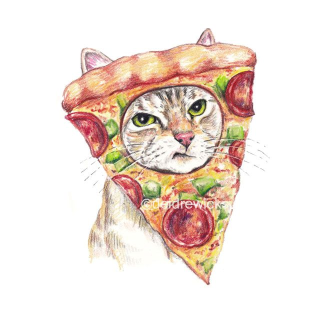 My Cat is a Pizza / Crayon Art by Deidre Wicks
