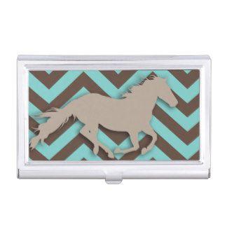 Cool Horse Modern Chevron Zigzag Blue Brown Business Card Case