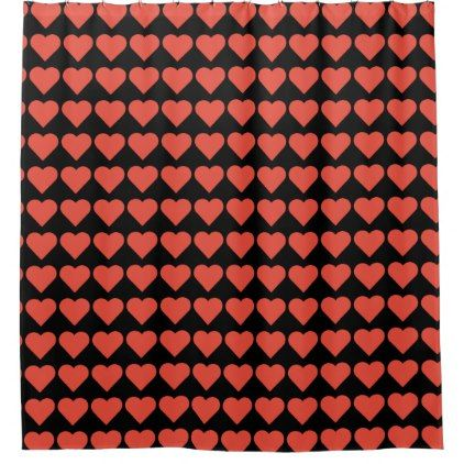 Red Hearts on Black Shower Curtain - shower gifts diy customize creative