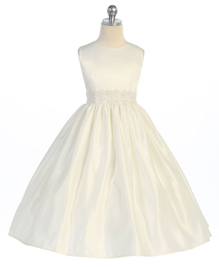Bridal satin flower girl dress with beaded waistband. #flowergirldress #justuniqueboutique #kidsdresses #ivorydress #weddings http://www.justuniqueboutique.com/divine-bridal-satin-dress-with-beaded-waistband.html