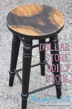 Glimmer & Grit: Dollar Store Doily Stenciled Stool. I would never have thought of that, but what an awesome idea. Now I just need to find a stool. ;)