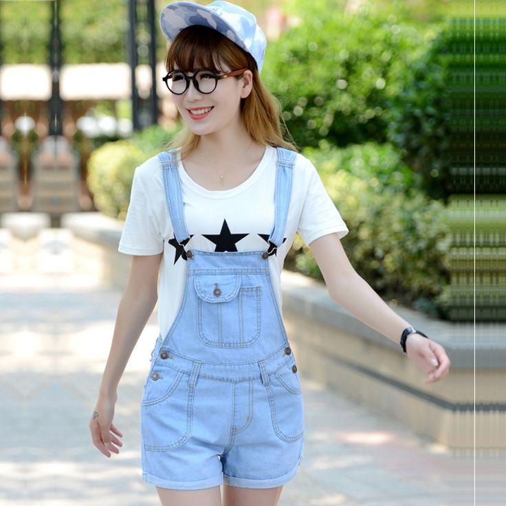 2016 קיץ דנות מכנסיים קצרים בתוספת גודל בסגנון קוריאני נשים סרבל ג ' ינס סרבל מקרית סקיני בנות מכנסיים ג ' ינס קצר