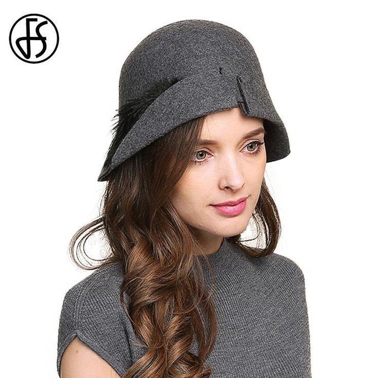 FS Elegant Feather Hat Wool Felt Fedoras Vintage Cloche Hats For Women Autumn Wi… – Hutmodelle