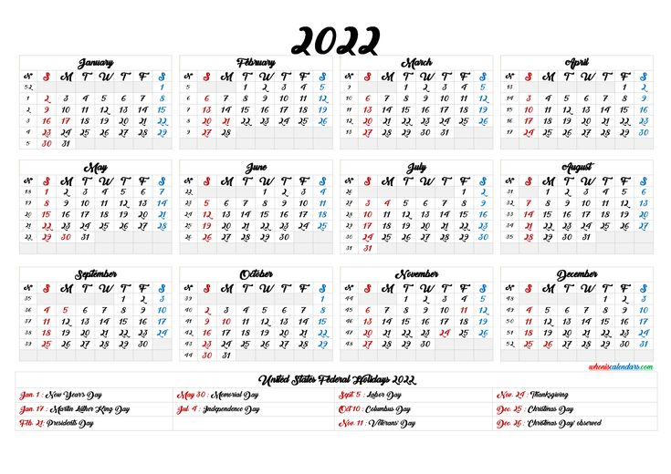Printable 2022 Calendar One Page - 6 Templates in 2020 ...