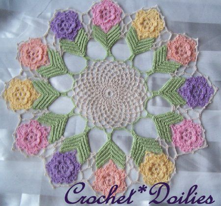 Crochet Flower Doily Pattern : Spring Flower With LeavesImage Details, Spring Flower ...