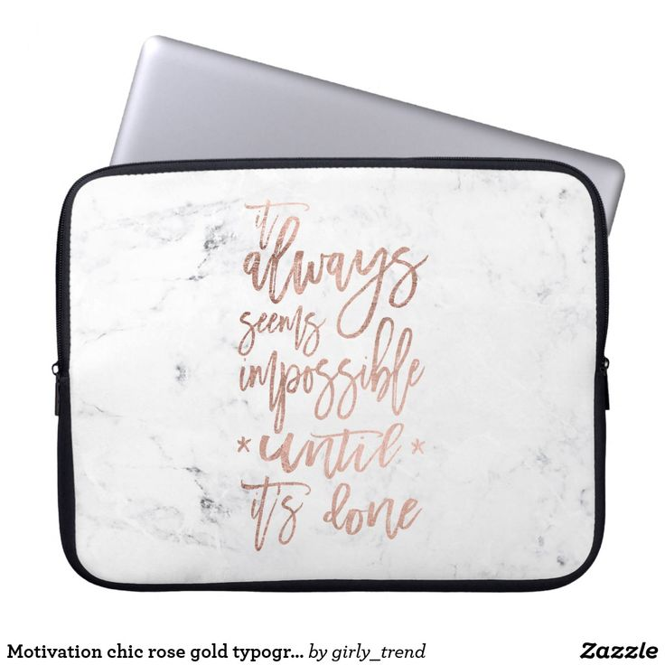 Motivation chic rose gold typography white marble