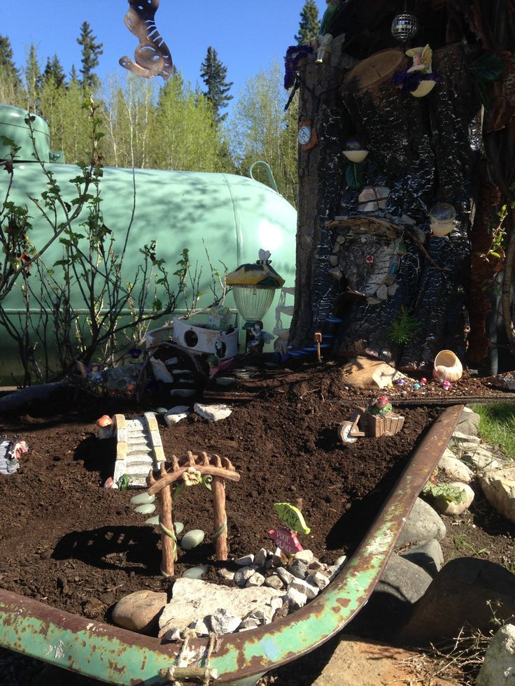 Just beginning  to set up the fairy garden. They need to be ready to enjoy the midnight sun!