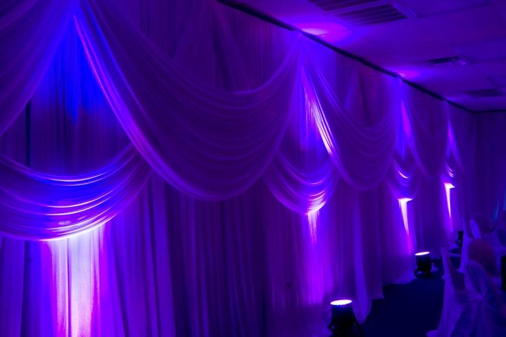 Drapery & LED Up-LightingFabrics Drapes, Purple Uplighting, Backdrops,  Theatres Curtains, Events Marketing, Events Stuff, Colors Uplighting, Angels Decor, Lights Ideas