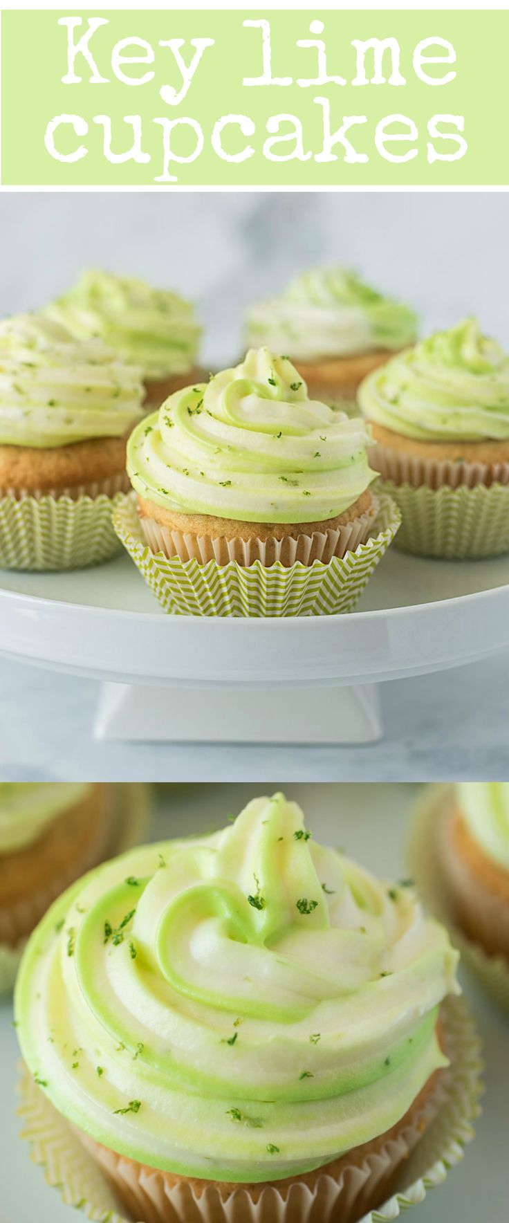 Key lime cupcakes taste like key lime pie. With key lime juice and zest in the light and fluffy cupcakes and cream cheese frosting.