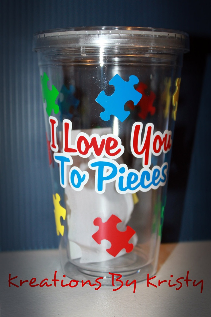 16oz Autism Awareness Tumbler (I love you to pieces)