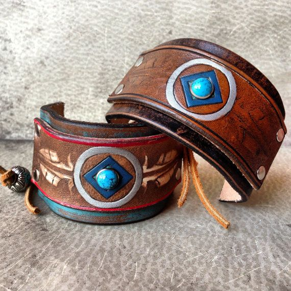 Handmade leather native american stamped feather cuff for Native american handmade crafts