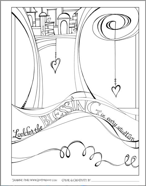 Zenspirations By Joanne Fink Blessings Coloring Book Page