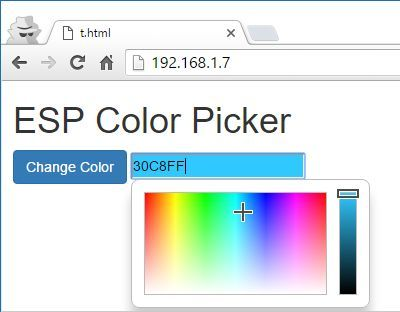 ESP Color Picker for setting color for an RGB led or ledstrip.