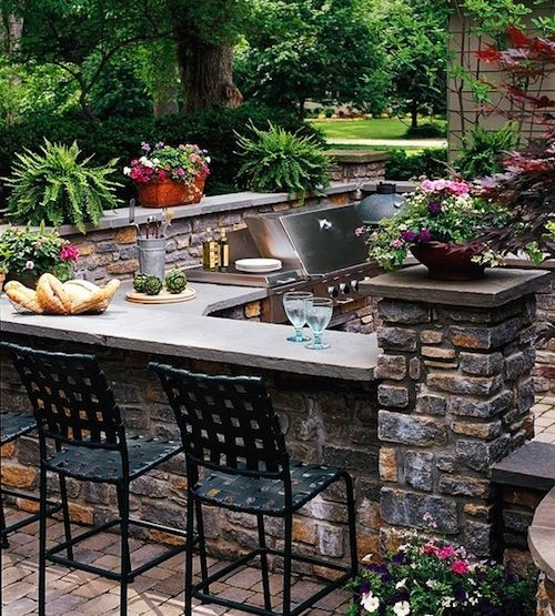 outdoor summer kitchen area
