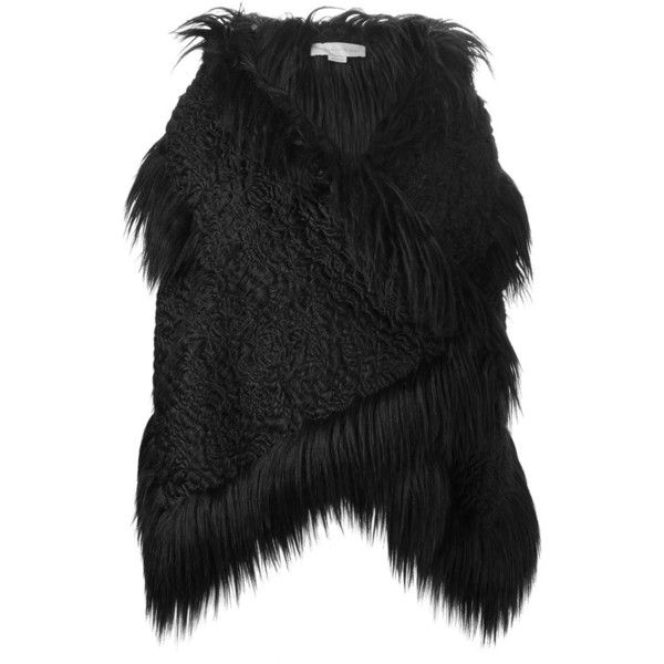 STELLA MCCARTNEY Faux Fur Gilet ($2,770) ❤ liked on Polyvore featuring outerwear, vests, stella mccartney, sleeveless waistcoat, black sleeveless vest, black fake fur vest and faux fur vest