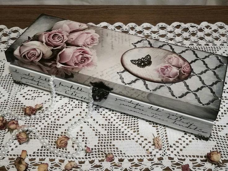 Romantikus rózsás - már megint! :-) / decoupage technik, wooden box, roses, love