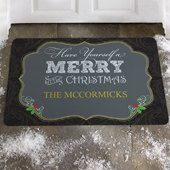 "Christmas Door Mat with ""Have Yourself A Merry Little Christmas"" Saying*Personalize w/ Text in different fonts & colors*For Home or Business"