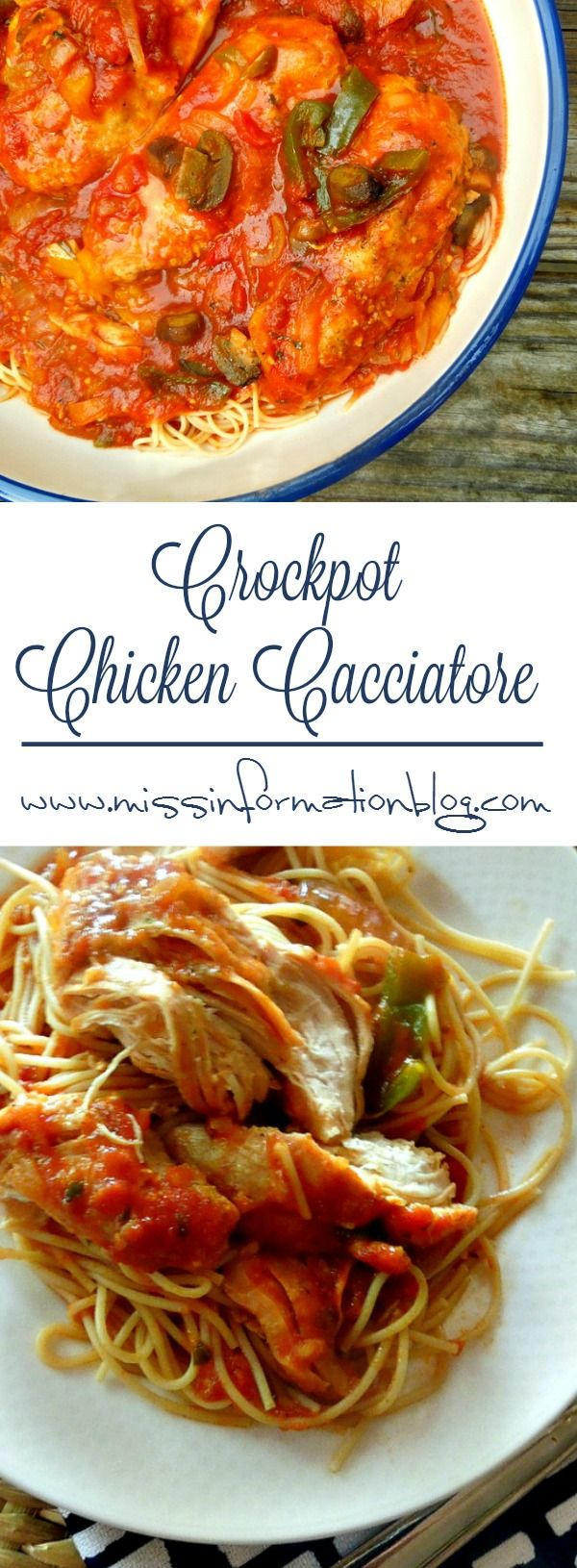 Taste the difference in this Slow Cooker Chicken Cacciatore using pasta sauce and fresh veggies to make a family style meal easy.