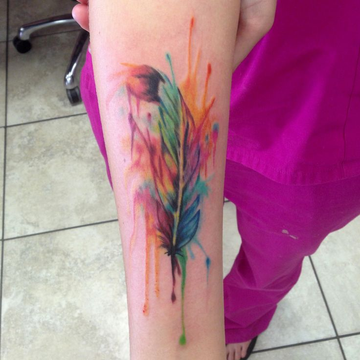 Watercolor feather tattoo by Mike Ashworth
