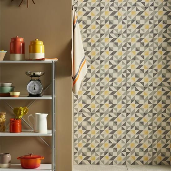 Saltram Yellow & Black on Chalk Porcelain Tile
